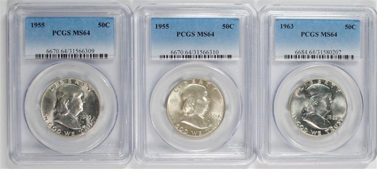 1963 & 2 1955 FRANKLIN HALF DOLLARS PCGS MS64
