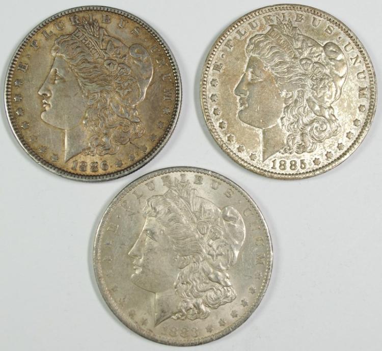 1883-O, 1885-O & 1886 MORGAN SILVER DOLLARS, AU
