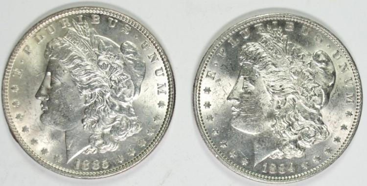 1884 & 1885 BU MORGAN SILVER DOLLARS