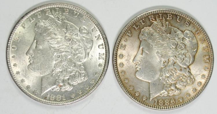1881 & 1886 BU MORGAN SILVER DOLLARS