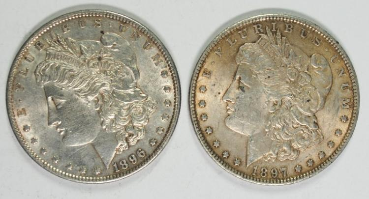 1896 & 1897 BU MORGAN SILVER DOLLARS