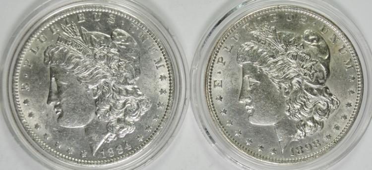 1884-O & 1898 BU MORGAN SILVER DOLLARS
