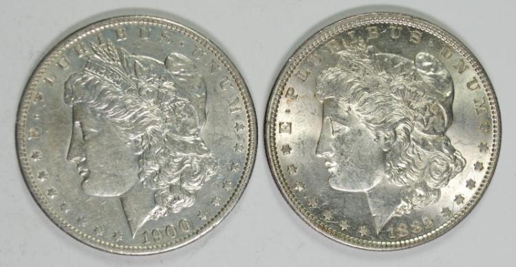 1885 & 1900-O BU MORGAN SILVER DOLLARS