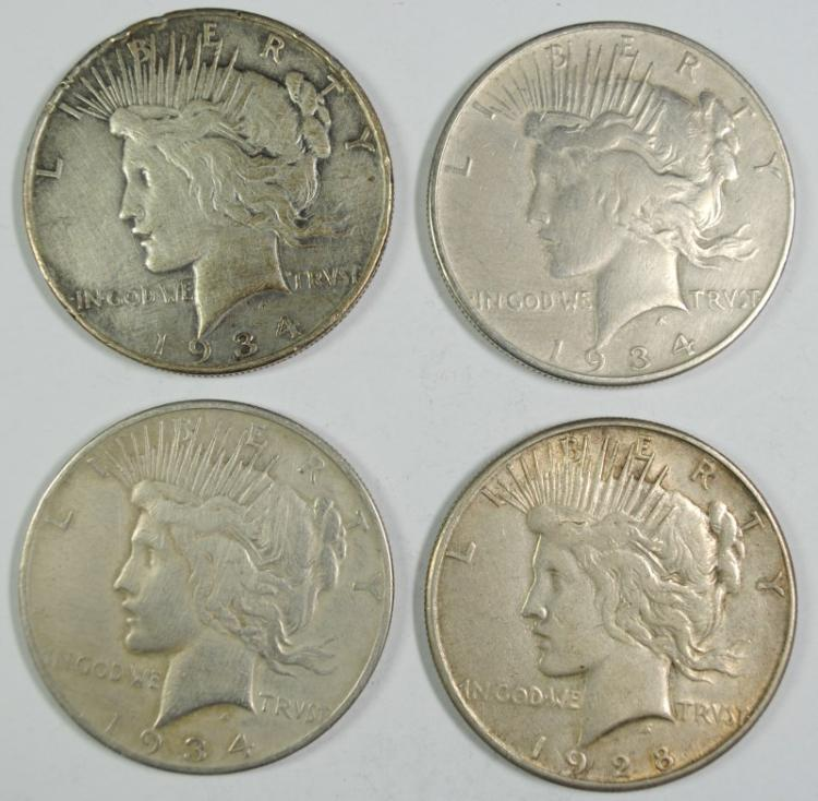 ( 4 ) BETTER DATE PEACE DOLLARS: 1928-S, 1934-S & ( 2 ) 1934-D