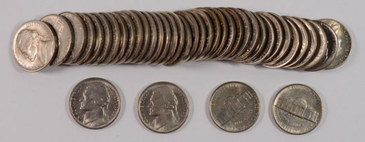ORIGINAL GEM BU ROLL OF ( 40 ) 1938-S JEFFERSON NICKELS,  FIRST YEAR