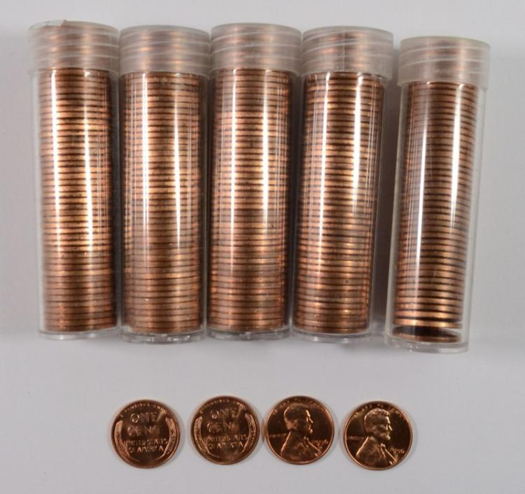 ( 5 ) GEM BU ROLLS OF 1956-D LINCOLN CENTS