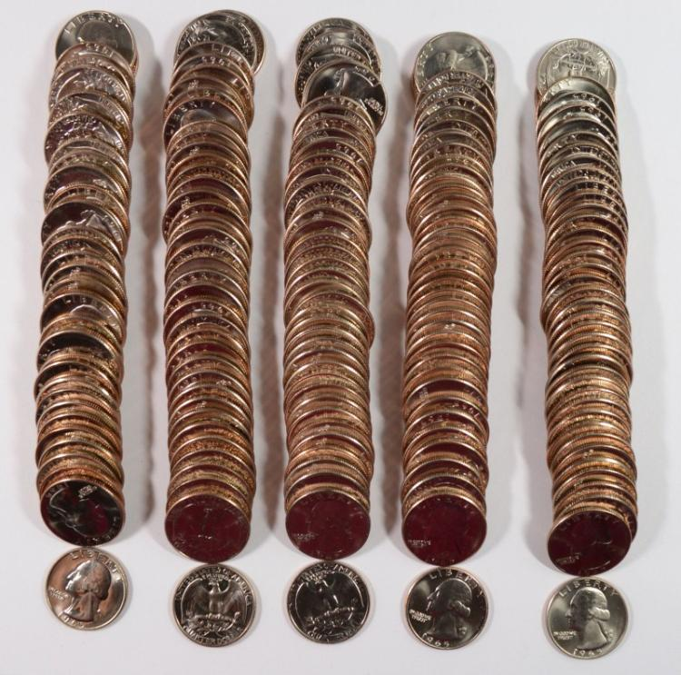 ( 5 ) GEM BU ROLLS OF 1965 SMS WASHINGTON QUARTERS
