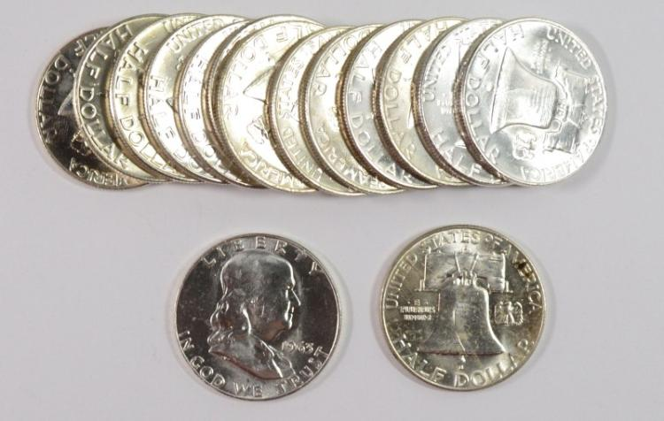 ( 15 ) GEM BU FRANKLIN HALF DOLLARS: VARIOUS DATES