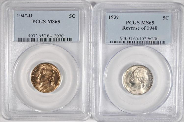 2 JEFFERSON NICKELS 1939 REV. OF 40, & 1947-D PCGS MS-65