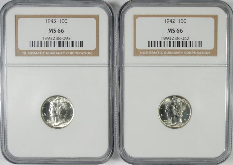 1942 & 1944 MERCURY DIMES, NGC MS66