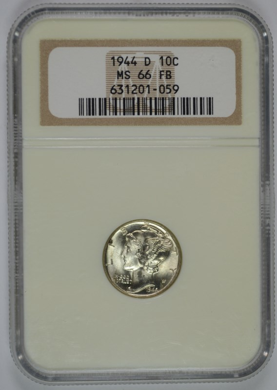 1944-D MERCURY DIME NGC MS-66 FB