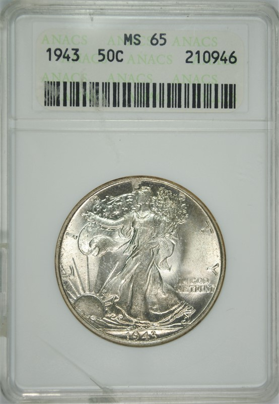 1943 WALKING LIBERTY HALF DOLLAR, ANACS MS-65 GEM small crack in holder