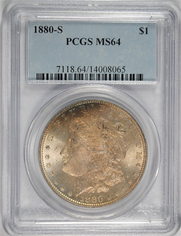 1880-S MORGAN DOLLAR PCGS MS-64 OBVERSE COLOR, REVERSE WHITE