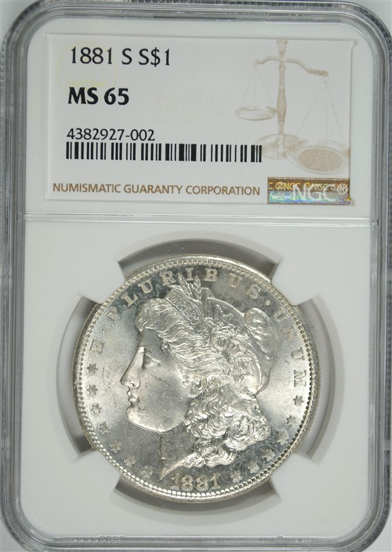 1881-S MORGAN DOLLAR NGC MS-65