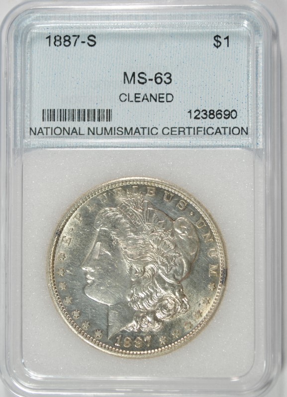 1887-S MORGAN DOLLAR NNC GRADED CH BU+ SEMI KEY
