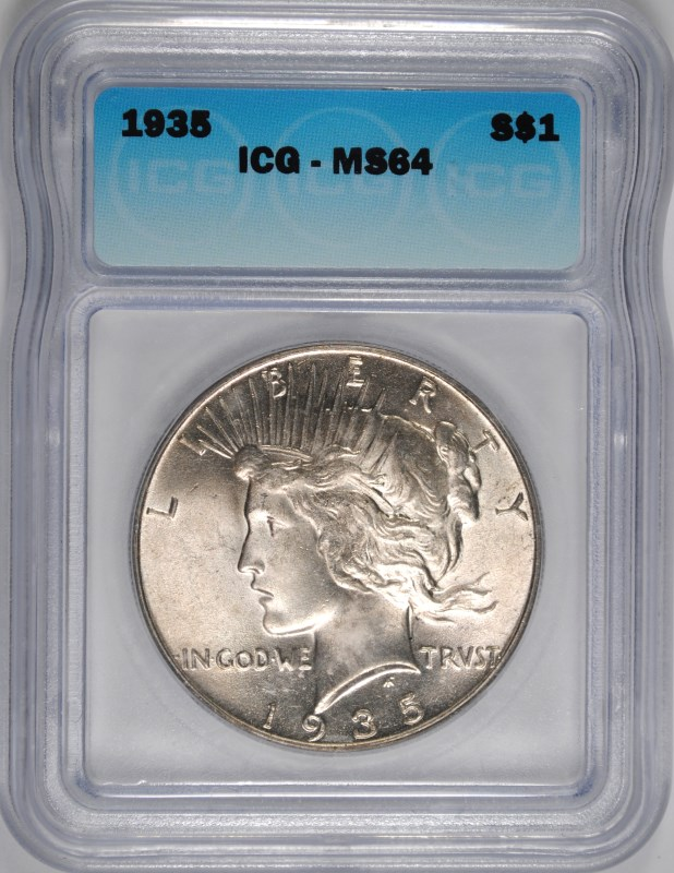 1935 PEACE DOLLAR ICG MS-64 WHITE