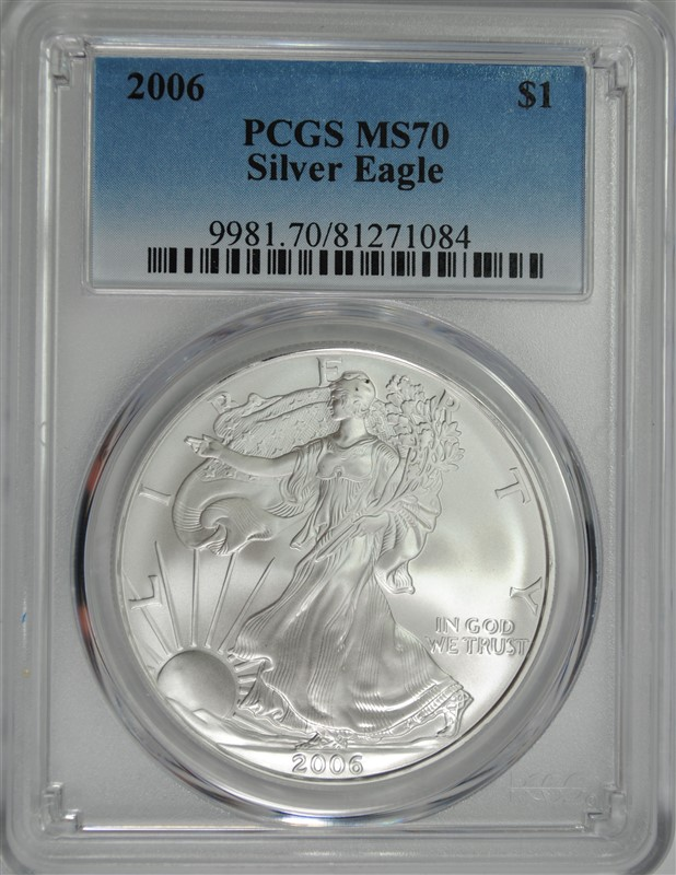 2006 AMERICAN SILVER EAGLE, PCGS MS-70 PERFECT! PCGS PRICE GUIDE=$210.00