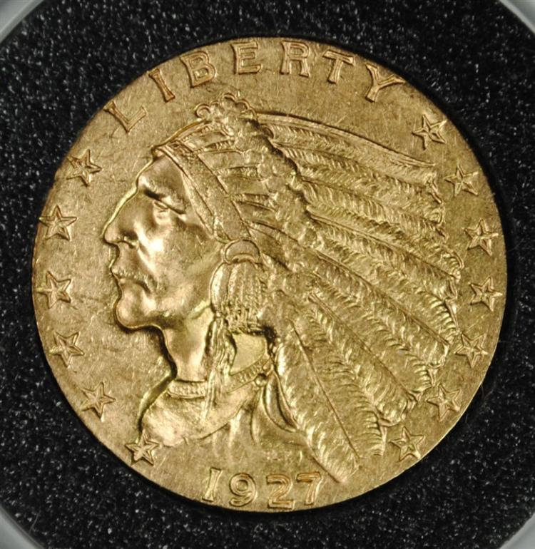 1927 $2.50 GOLD INDIAN, CHOICE BU