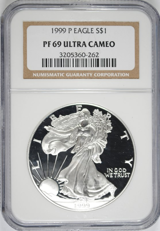 1999-P PROOF AMERICAN SILVER EAGLE, NGC PROOF-69 ULTRA CAMEO