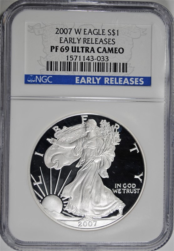 2007-W PROOF AMERICAN SILVER EAGLE, NGC PF-69 ULTRA CAMEO  EARLY RELEASES