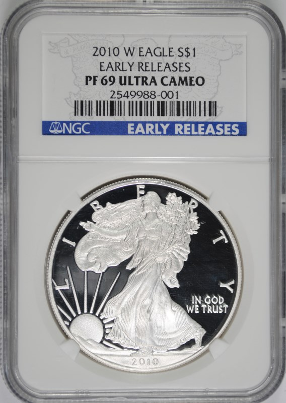 2010-W AMERICAN SILVER EAGLE, NGC PF-69 ULTRA CAMEO EARLY RELEASES