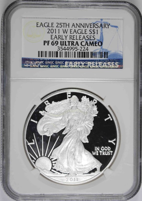2011-W AMERICAN SILVER EAGLE, NGC PF-69 ULTRA CAMEO EARLY RELEASES