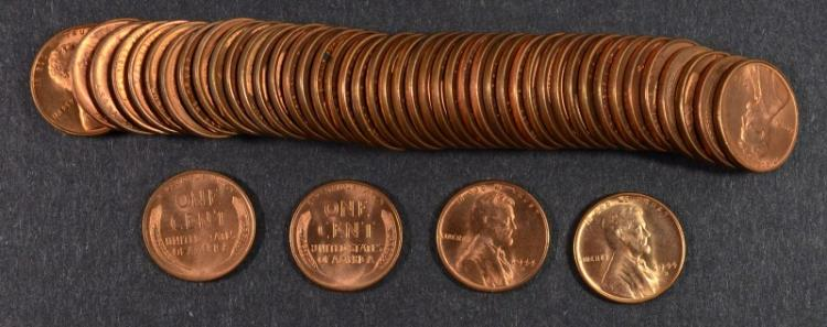 GEM BU ROLL OF 1944-S LINCOLN CENTS