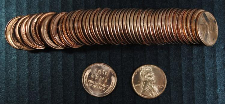 GEM BU ROLL OF ( 50 ) 1949-D LINCOLN CENTS