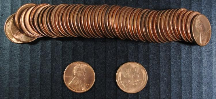 GEM BU ROLL ( 50 ) 1948-S LINCOLN CENTS