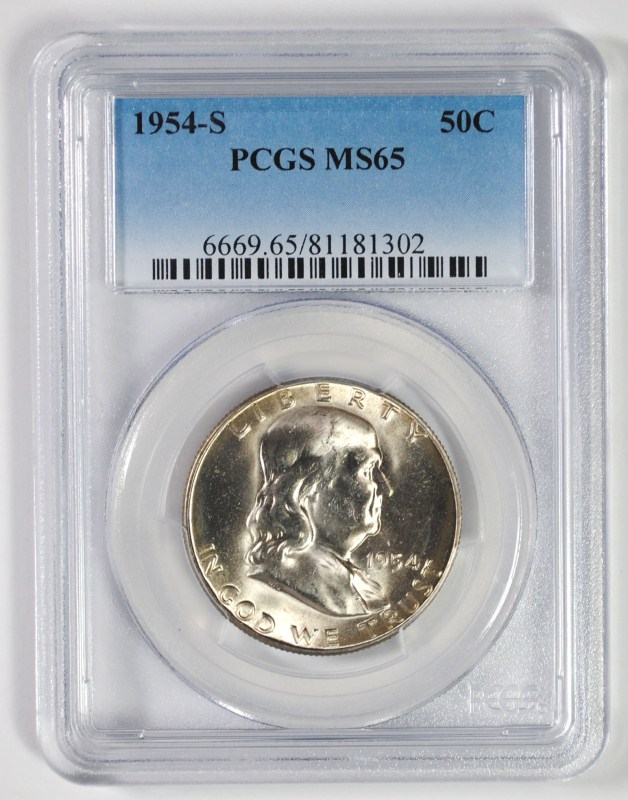 1954-S FRANKLIN HALF DOLLAR PCGS MS65