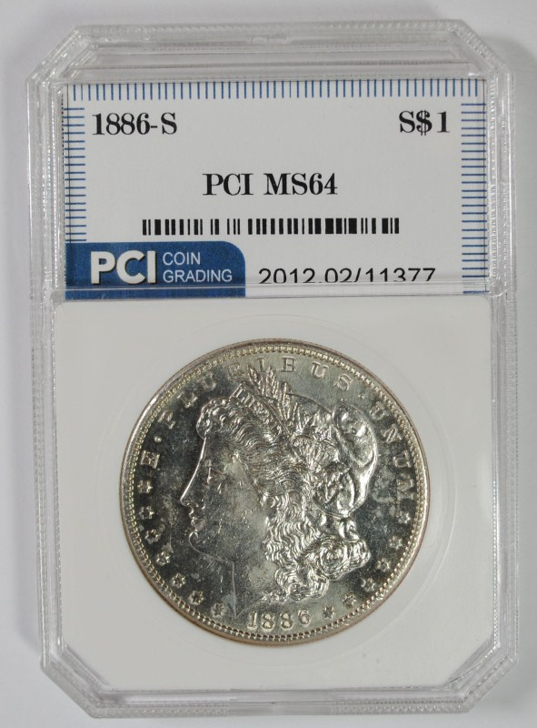 1886-S MORGAN SILVER DOLLAR PCI CH BU