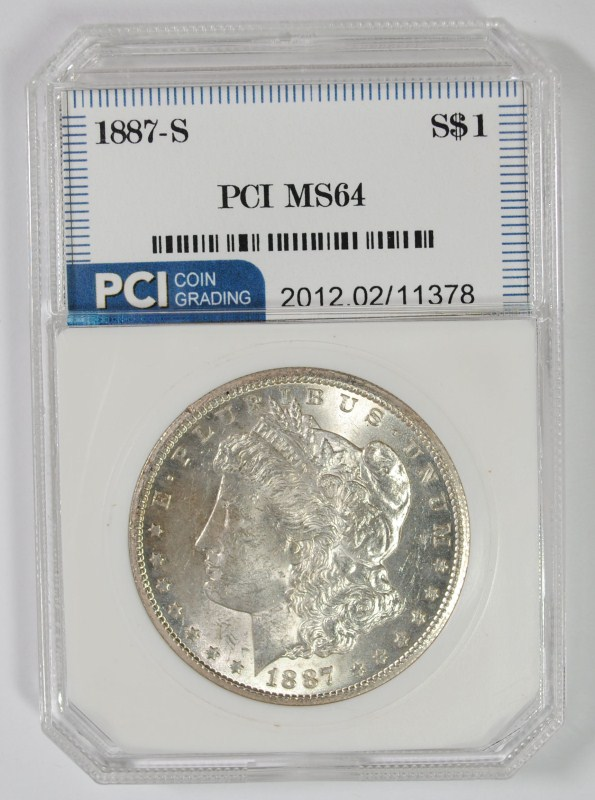 1887-S MORGAN SILVER DOLLAR PCI CH BU