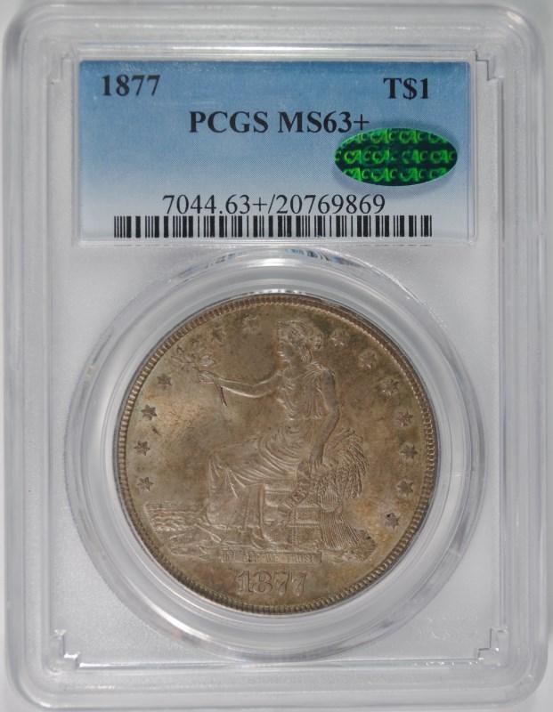 1877 TRADE DOLLAR PCGS MS63+ 'CAC'