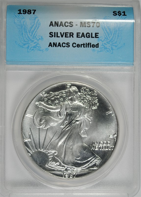 1987 AMERICAN SILVER EAGLE ANACS MS70 PERFECT GEM BU