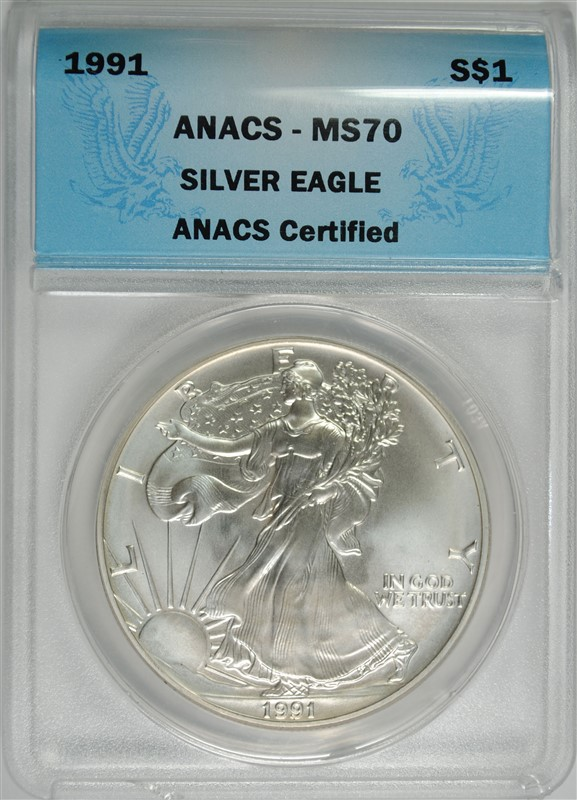 1991 AMERICAN SILVER EAGLE ANACS MS70 - PERFECT GEM BU