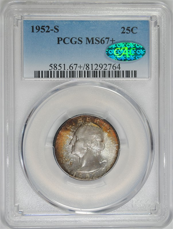 1952-S WASHINGTON QUARTER PCGS MS67+