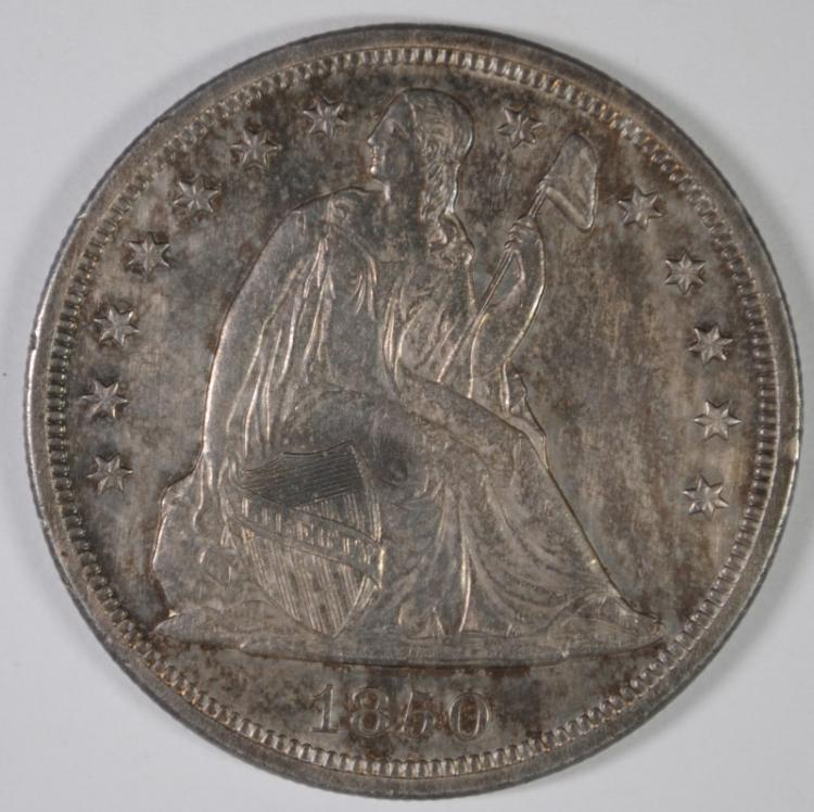 1850-O SEATED LIBERTY DOLLAR AU/BU TONED