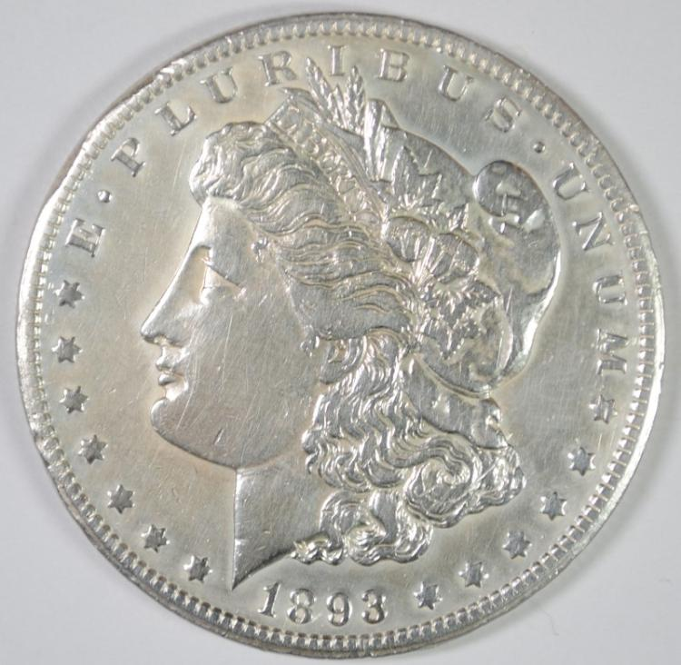 1893-CC MORGAN DOLLAR XF/AU CLEANED
