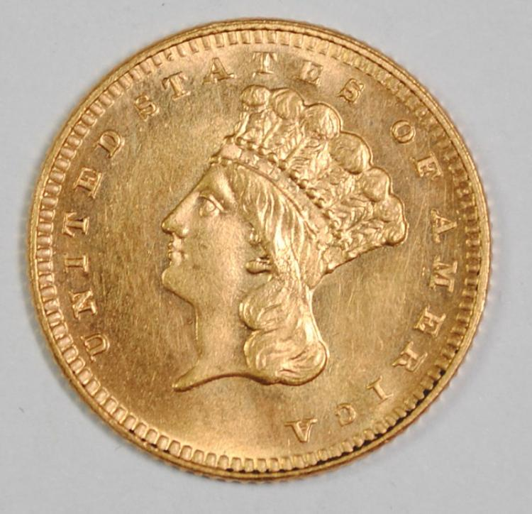 1886 TYPE 3 GOLD DOLLAR GEM BU