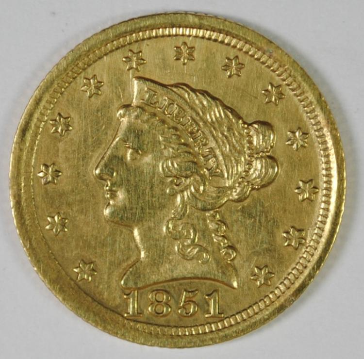 1851-O $2.5 GOLD LIBERTY AU/BU CLEANED