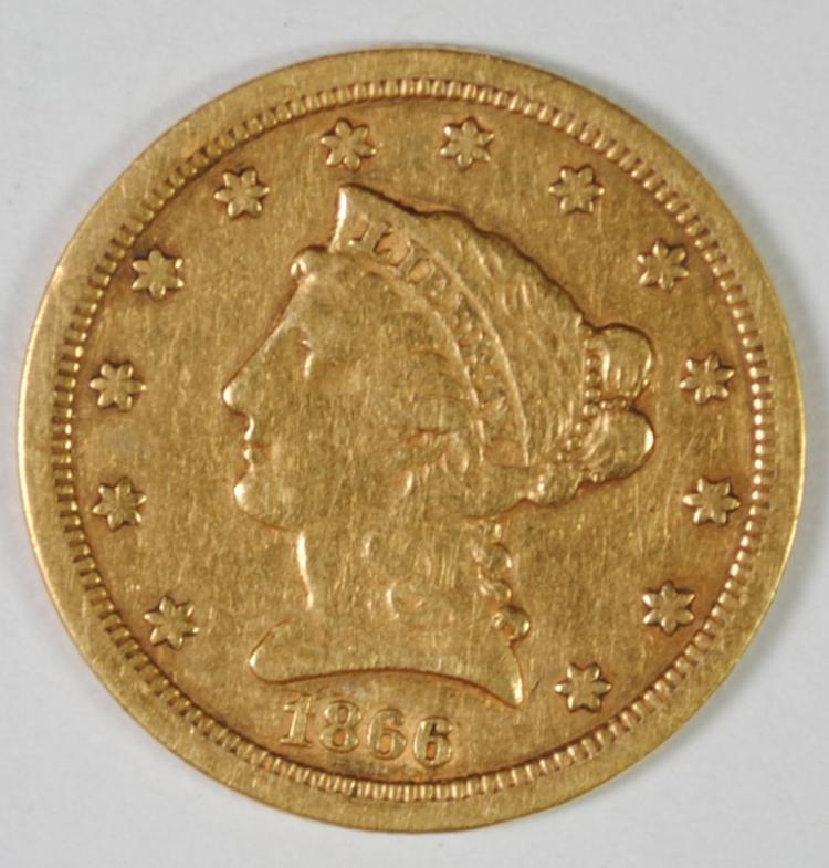 1866-S $2.5 GOLD LIBERTY XF