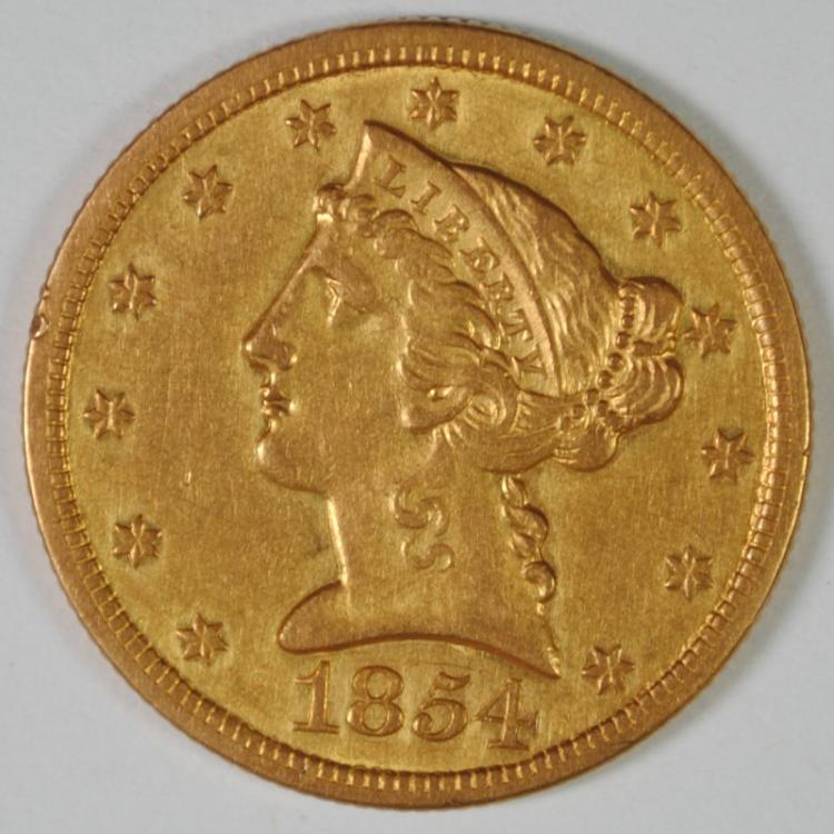 1854-O $5 GOLD LIBERTY AU/BU SCARCE NEW ORLEANS ISSUE
