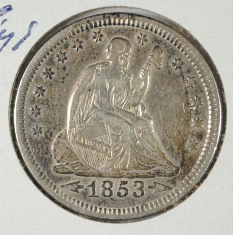 1853 ARROWS & RAYS SEATED LIBERTY QUARTER AU NICE ORIGINAL TONE