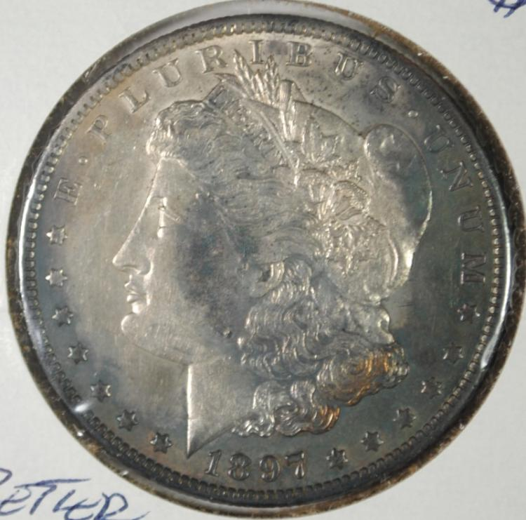 1897-O MORGAN SILVER DOLLAR CH BU GREEN-BLUE TONE  BETTER DATE