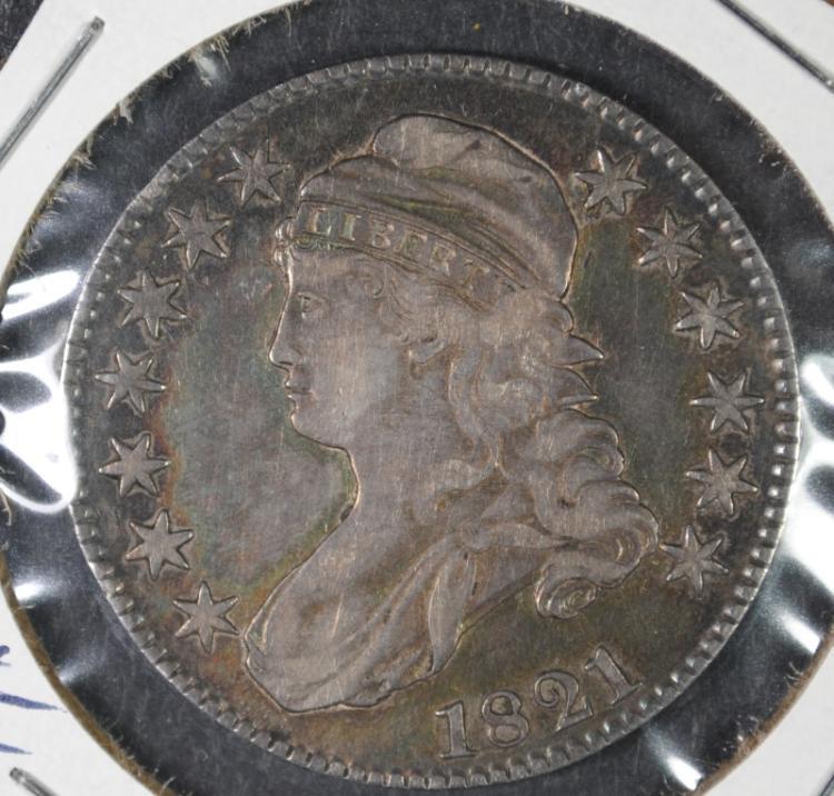 1821 BUST HALF DOLLAR CH XF/AU ATTRACTIVE ORIGINAL GRAY-BLUE TONE