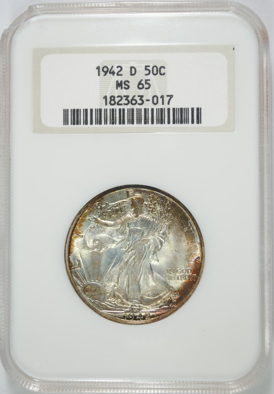 1942 D WALKING LIBERTY HALF DOLLAR NGC MS 65 NICE RED ARC TONE