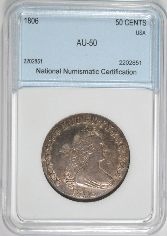 1806 DRAPED BUST HALF DOLLAR NNC AU