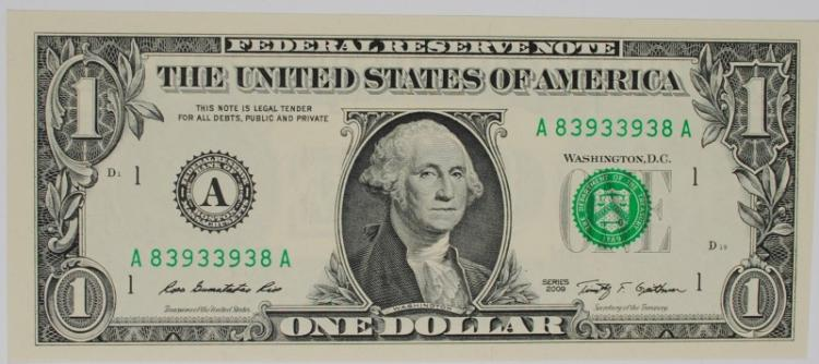 2009 $1 FEDERAL RESERVE NOTE FANCY SERIAL #  RADAR NOTE GEM CU