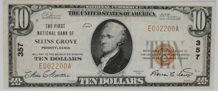 1929 $10 TYPE 1 NATIONAL CURRENCY CH #357 1ST NATIONAL BANK OF SELLINS GROVE, XF