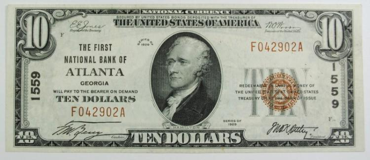 1929 $10 TYPE 1 NATIONAL CURRENCY CH #1559 1ST NAT'L BANK OF ATLANTA CH.AU/CU